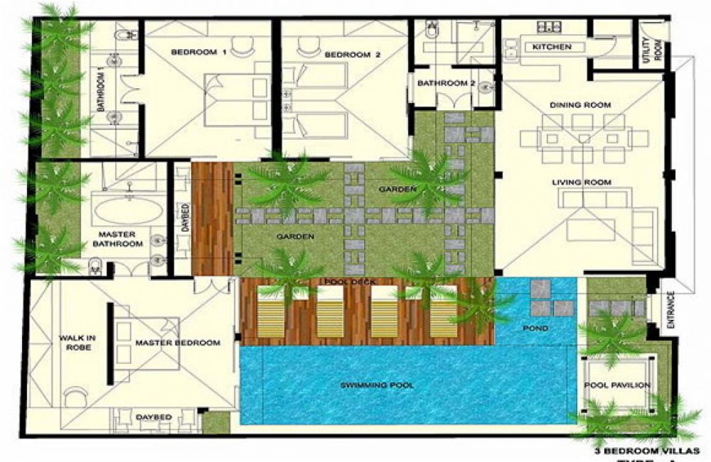 Bali villas floor plans for Balinese house plans